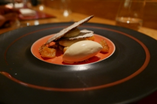 An unlikely marriage - Japanese sensibilities meet Breton produce at the excellent Table de Breizh Café. Pictured: buckwheat beer ice cream with buckwheat pastry and caramelised apple and quince.